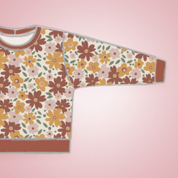 Pullover - Autumn Flowers - rostfarbene Bündchen