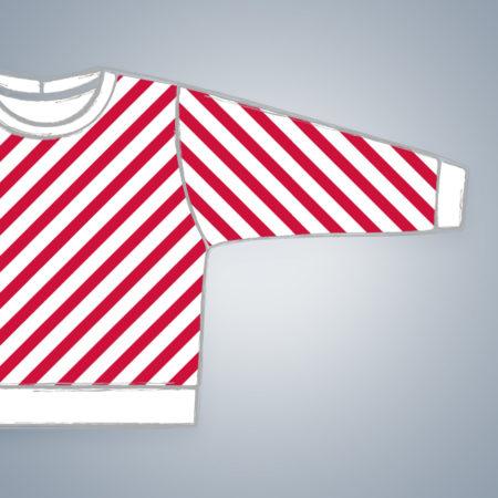 Pullover - Diagonal Stripes - weißes Bündchen