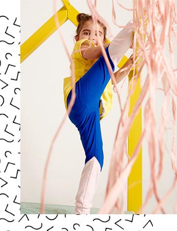 Tragebild - Leggings - Colorblock royalblau-rosa